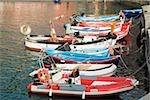 Bateaux à quai au port, Riviera italienne, Parc National des Cinque Terre, Il Porticciolo, Vernazza, La Spezia, Ligurie, Italie