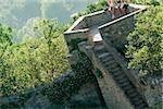 High angle view of tourists at an observation point, La Rognosa, San Gimignano, Siena Province, Tuscany, Italy