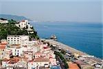 High angle view of a town at the seaside, Vietri sul Mare, Costiera Amalfitana, Salerno, Campania, Italy