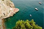 High angle view of boats floating on water, Spiaggia San Pietro, Costiera Amalfitana, Salerno, Campania, Italy