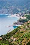 High angle view of a town at the sea side, Ligurian Sea, Italian Riviera, Cinque Terre, La Spezia, Liguria, Italy