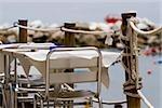 Chairs and table at a sidewalk cafe, Italian Riviera, Cinque Terre National Park, Il Porticciolo, Vernazza, La Spezia, Liguria, Italy