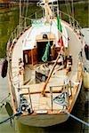 Boat moored at harbor, Porto Antico, Genoa, Italy