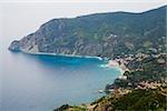 High angle view of a town at the sea side, Ligurian Sea, Italian Riviera, Monterosso al Mare, Cinque Terre, La Spezia, Liguria, Italy