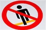 Close-up of a no pedestrian sign, Monterosso al Mare, La Spezia, Liguria, Italy