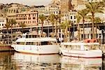 Yachts docked at a harbor, Porto Antico, Genoa, Italy