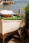 Boat moored at the seaside, Marina Grande, Capri, Sorrento, Sorrentine Peninsula, Naples Province, Campania, Italy