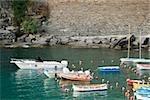 Boats docked at a port, Italian Riviera, Cinque Terre National Park, Il Porticciolo, Vernazza, La Spezia, Liguria, Italy