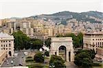 High angle view of a cityscape, Piazza Della Vittoria, Genoa, Liguria, Italy