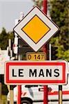 Information board on roadside, Le Mans, France