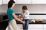 Profil de côté d'une jeune femme, préparation de la nourriture avec sa fille dans la cuisine