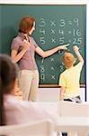 Enseignante et son élève dans une classe d'enseignement