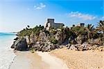 Ruines d'un château en bord de mer, Zona Arqueologica De Tulum, Quintana Roo, Cancun, Mexique