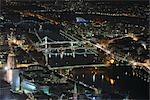 Rivière Main à nuit, Francfort-sur-le-main, Hesse, Allemagne