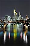 Ignatz Bubis Bridge over River Main and Skyline, Frankfurt, Hesse, Germany
