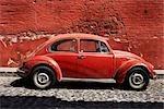 Car Parked on Cobblestone Street, San Miguel de Allende, Guanajuato, Mexico