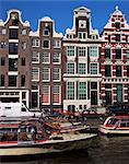 Maisons datant du XVIIe siècle, Amsterdam, Hollande, Europe
