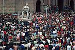 Crowds around a shrine during the Corpus Christi Festival in Cuzco, Peru, South America