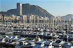 Marina et vue à Castillo, Alicante, Costa Blanca, Espagne, Europe