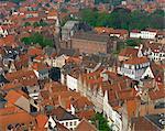 Aerial view over Bruges, Belgium, Europe