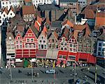 Aerial view of cafe facades, Market Square, Bruges, Belgium, Europe