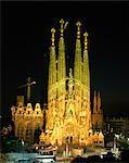 The Sagrada Familia, the Gaudi cathedral, illuminated at night in Barcelona, Cataluna, Spain, Europe
