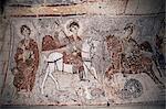 Fresco in Church of the Serpent, figure could be St. George, Goreme, Cappadocia, Anatolia, Turkey, Asia Minor, Eurasia