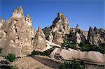 General view of Uchisar, Cappadocia, Anatolia, Turkey, Asia Minor, Eurasia