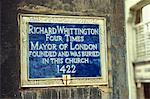 Gedenktafel an Richard Whittington, Kirche St. Michael, Paternoster Royal, London, England, Vereinigtes Königreich, Europa