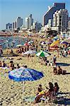 La plage et le front de mer, Tel Aviv, Israël, Moyen-Orient