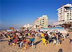 Cafe terrace on the beach, Tel Aviv, Israel, Middle East