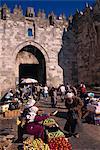 Quotidien marché, porte de Naplouse, vieille ville, Jérusalem, Israël, Moyen-Orient