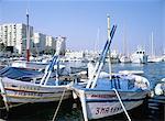 Pêche des bateaux dans le port de plaisance, Estepona, Malaga, Costa del Sol, Andalucia (Andalousie), Espagne, Europe