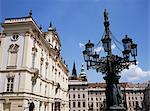 Ornate street lamp outside Archbishop's Palace, Prague, Czech Republic, Europe