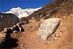 Pierres Mani imprimé avec des prières tibétaines à côté d'une piste en Solu Khumbu, Népal, Asie