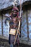 Abui tribal headhunter in warrior dress, Alor Island, eastern area, Indonesia, Southeast Asia, Asia