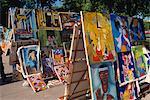 Peintures à vendre, commercialiser, Vieille Havane, Cuba, Antilles, Amérique centrale