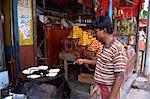 Making parathas, Banani market, Dhaka, Bangladesh, Asia