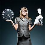 businesswoman weighing time versus money