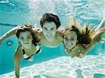 teenagers in a swimming pool