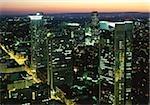 Illuminated skyline of Frankfurt am Main, Hesse, Germany