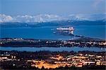 Panoramic night time view of Homer & Homer Spit Lighted w/Kenai Mountains Alaska Winter