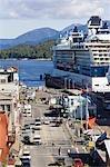 Celebrity & Holland America Cruiseships docked near downtown Ketchikan Alaska Southeast Summer