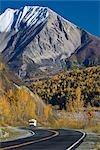 Glenn Hwy and Fall colors in the Matanuska Valley north of Sutton near Chickaloon, Alaska