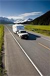 Vehicles Travel Seward Hwy Near Portage SC AK Summer Carpathian Peak Kenai Mtns