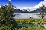 Vehicles Travel Seward Hwy Turnagain Arm SC AK Summer Chugach Mtns