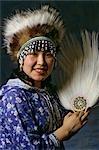 Alaskan Eskimo Girl w/ Dancing Fans Head dress AK Portrait