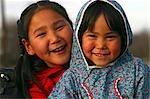 Portrait of Yupik Native Alaskan girls near Kwethluk Alaska