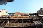 Looking Up at Buildings in Kathmandu, Nepal