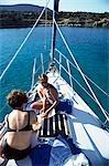 Women on boat,Akama Penninsula,Cyprus.